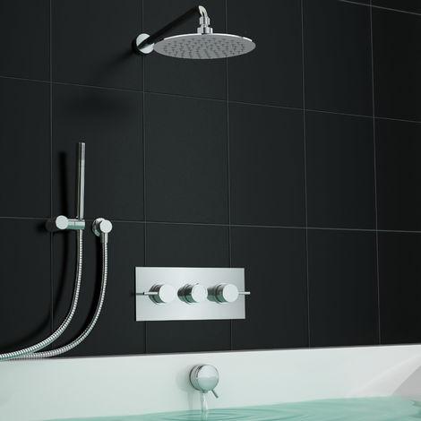3 Way Mirror Centrafill Thermostatic Mixer Shower Bath Set