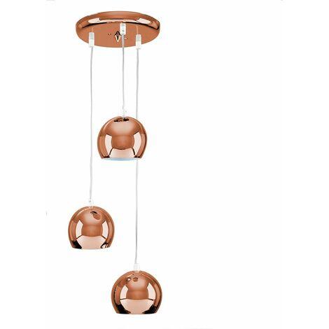 3 Way Pendant Ceiling Light - Copper - Copper