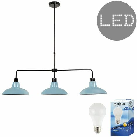 3 Way Rise & Fall Suspended Over Table Ceiling Light + 6W LED GLS Bulbs