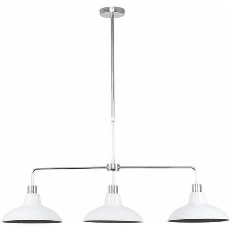 """main image of """"3 Way Rise & Fall Suspended Over Table Ceiling Light with Retro Shades - White"""""""