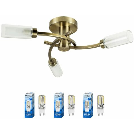 3 Way Spiral Flush Antique Brass Ceiling Light + Clear & Frosted Glass Shades - Add LED Bulbs - Gold