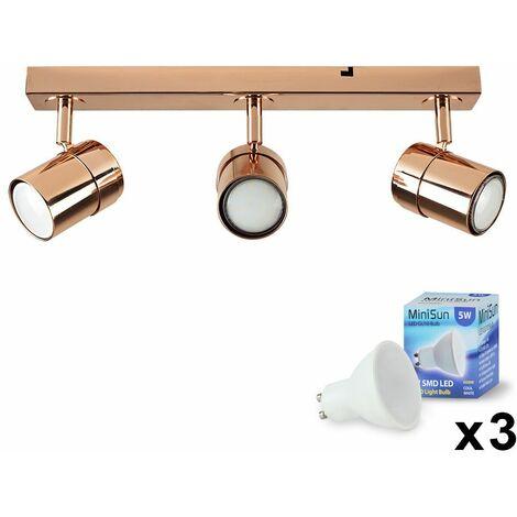 3 Way Straight Bar Ceiling Spotlight + GU10 LED Bulbs