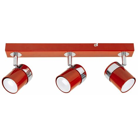 3 Way Straight Bar Ceiling Spotlight + GU10 LED Bulbs - Copper - Copper