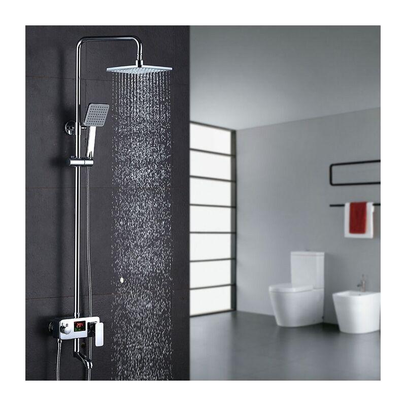 3 Wege Duschsystem LCD Temperatur Anzeige Duscharmatur mit Rainshower Regendusche Handbrause ...