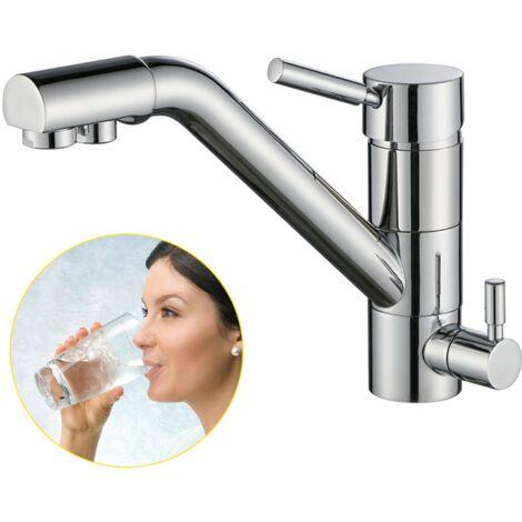 3 Wege Wasserhahn Küche, 360° Drehbar Küchenarmatur, 3 in 1 Mischbatterie für Wasserfilter, Spültischarmatur aus Messing, Trinkwasserhahn mit 2 Hebel Armatur chrom