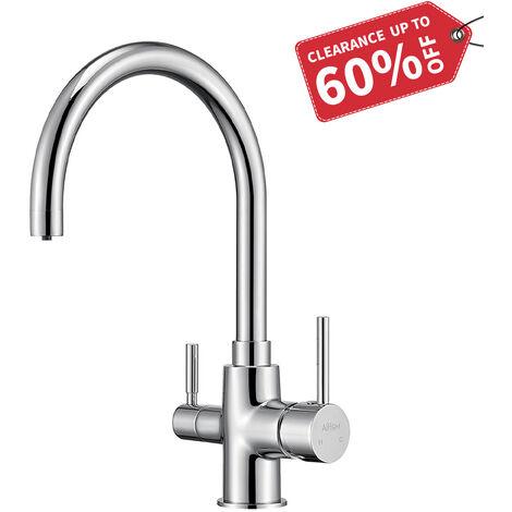 3 Wege Wasserhahn Küche, 360° Drehbar Küchenarmatur, 3 in 1 Mischbatterie für Wasserfilter, Spültischarmatur Küche Mischbatterie, Trinkwasserhahn mit 2 Hebel, Chrom