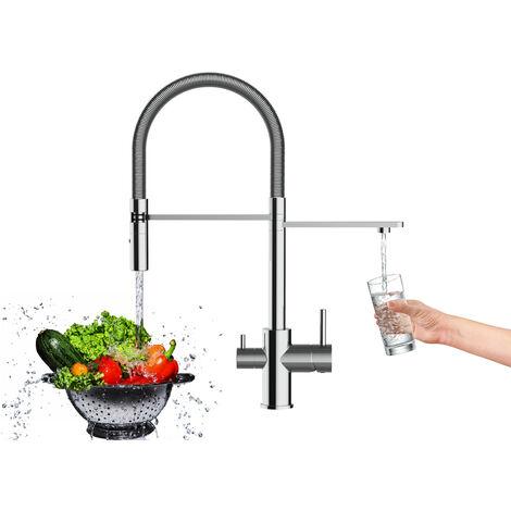 3 Wege Wasserhahn Kueche Spueltischarmatur chrom Kuechenarmatur mit 360 schwenkbarem Auslauf und abnehmbare 2 strahl Handbrause