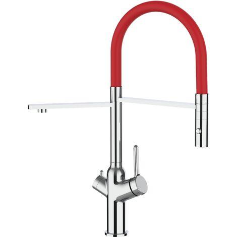 3 Wege Wasserhahn Kueche Spueltischarmatur chrom Kuechenarmatur mit rot 360 schwenkbarem Auslauf und abnehmbare 2 strahl Handbrause - BOD Design