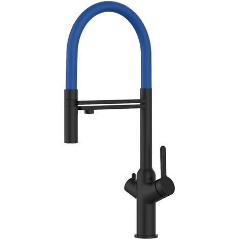 3 Wege Wasserhahn Kueche Spueltischarmatur chrom schwarz matt Kuechenarmatur mit rot 360 schwenkbarem Auslauf und abnehmbare 2 strahl Handbrause - BOD Design