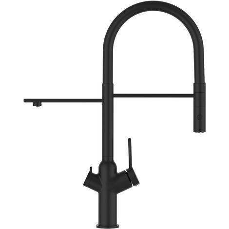 3 Wege Wasserhahn Kueche Spueltischarmatur chrom schwarz matt Kuechenarmatur mit Schwarz 360 schwenkbarem Auslauf und abnehmbare 2 strahl Handbrause - BOD Design