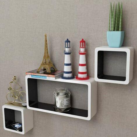 3 White-black MDF Floating Wall Display Shelf Cubes Book/DVD Storage