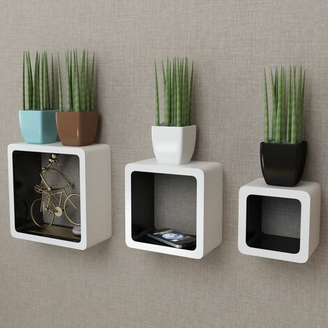 3 White-black MDF Floating Wall Display Shelf Cubes Book/DVD Storage