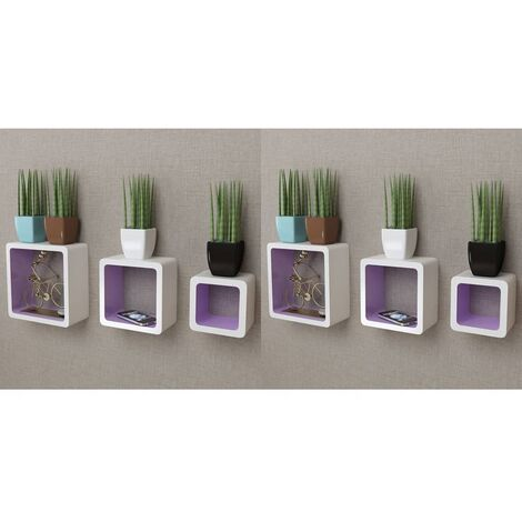 Wall Cube Shelves 6 pcs White and Purple