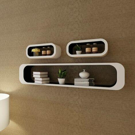 3 White-black MDF Floating Wall Display Shelf Cubes Book/DVD Storage VD09092