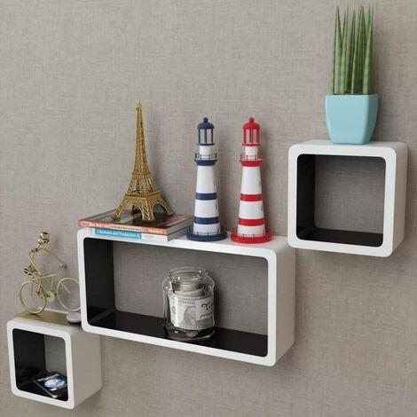 3 White-black MDF Floating Wall Display Shelf Cubes Book/DVD Storage VD09095