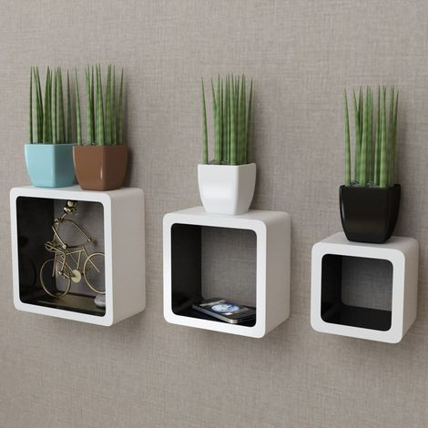 3 White-black MDF Floating Wall Display Shelf Cubes Book/DVD Storage VD09100