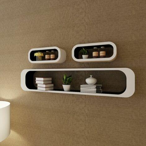 3 White-black MDF Floating Wall Display Shelf Cubes Book/DVD Storage VDTD09092