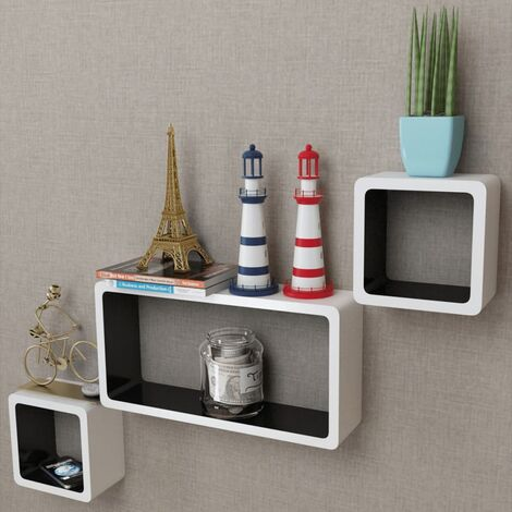3 White-black MDF Floating Wall Display Shelf Cubes Book/DVD Storage - White