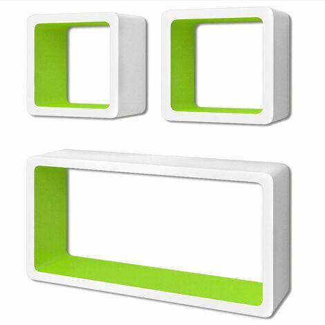 3 White-green MDF Floating Wall Display Shelf Cubes Book/DVD Storage QAH09097