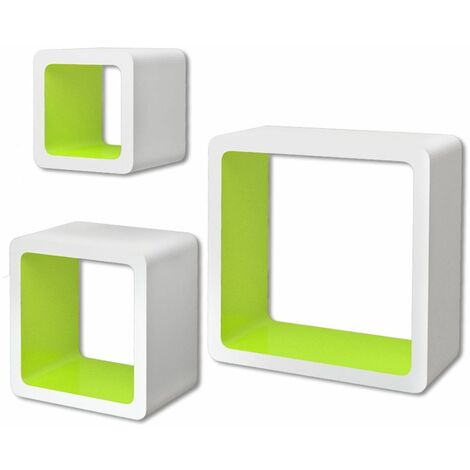 3 White-green MDF Floating Wall Display Shelf Cubes Book/DVD Storage QAH09102