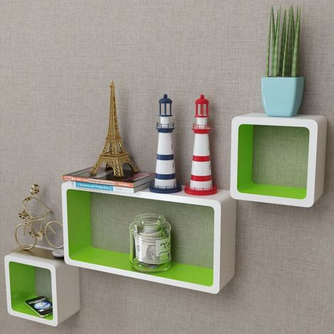 3 White-green MDF Floating Wall Display Shelf Cubes Book/DVD Storage VD09097
