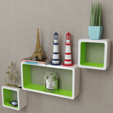 3 White-green MDF Floating Wall Display Shelf Cubes Book/DVD Storage VDTD09097