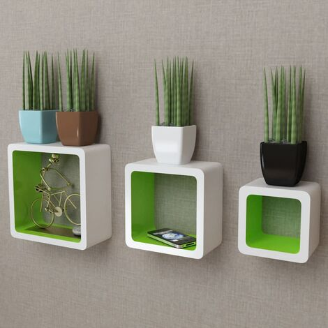 3 White-green MDF Floating Wall Display Shelf Cubes Book/DVD Storage - White
