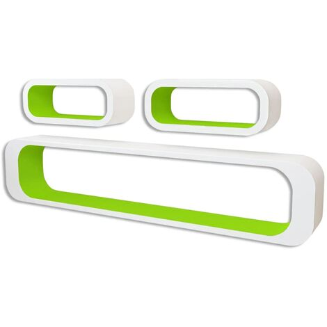 Wall Cube Shelves 6 pcs Green and White