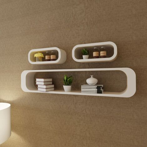 3 White MDF Floating Wall Display Shelf Cubes Book/DVD Storage - White