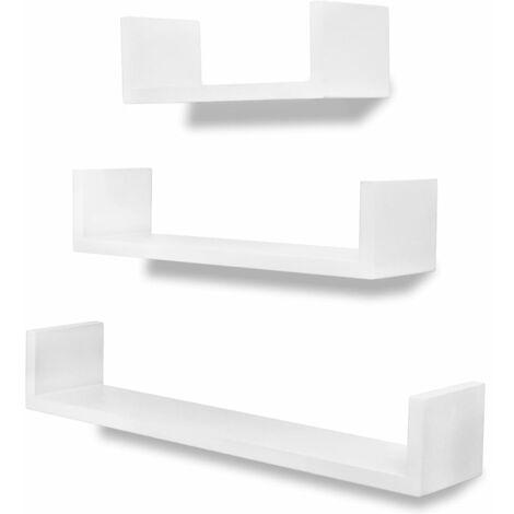 0fe5af9089 3 White MDF U-shaped Floating Wall Display Shelves Book/DVD Storage -