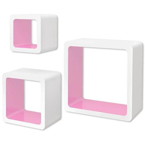 3 White-pink MDF Floating Wall Display Shelf Cubes Book/DVD Storage