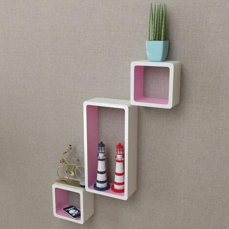 3 White-pink MDF Floating Wall Display Shelf Cubes Book/DVD Storage QAH09099