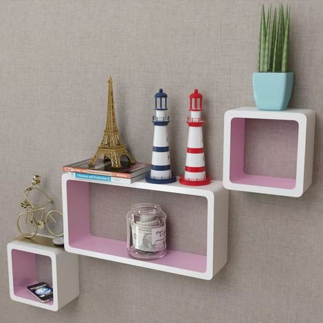 3 White-pink MDF Floating Wall Display Shelf Cubes Book/DVD Storage VD09099
