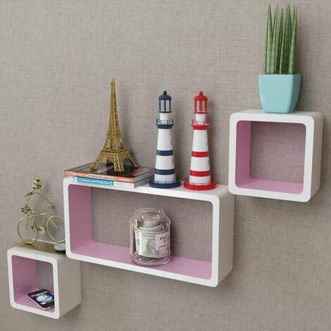 3 White-pink MDF Floating Wall Display Shelf Cubes Book/DVD Storage VDTD09099