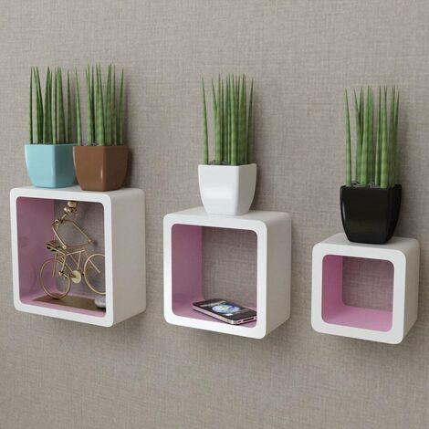 3 White-pink MDF Floating Wall Display Shelf Cubes Book/DVD Storage VDTD09104