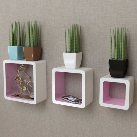 3 White-pink MDF Floating Wall Display Shelf Cubes Book/DVD Storage - White