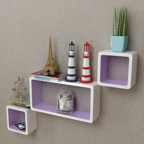 3 White-purple MDF Floating Wall Display Shelf Cubes Book/DVD Storage QAH09098