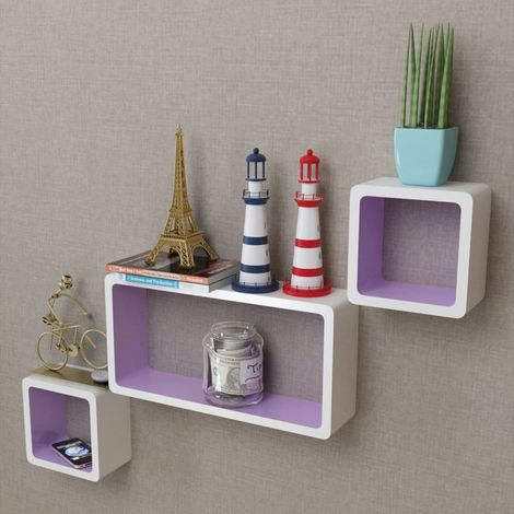 3 White-purple MDF Floating Wall Display Shelf Cubes Book/DVD Storage VD09098