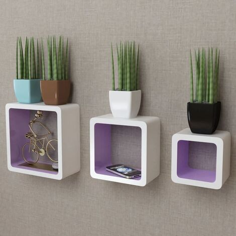 3 White-purple MDF Floating Wall Display Shelf Cubes Book/DVD Storage - White