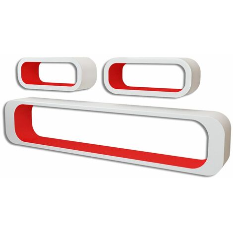 3 White-red MDF Floating Wall Display Shelf Cubes Book/DVD Storage QAH09093