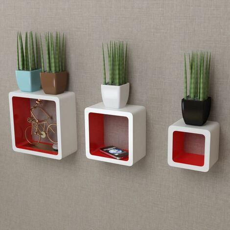 3 White-red MDF Floating Wall Display Shelf Cubes Book/DVD Storage QAH09101