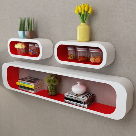 3 White-red MDF Floating Wall Display Shelf Cubes Book/DVD Storage VD09093