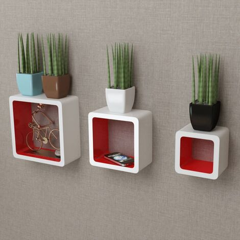 3 White-red MDF Floating Wall Display Shelf Cubes Book/DVD Storage - White