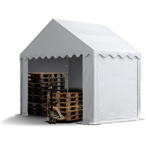 3 x 2 m Heavy Duty PVC Storage Tent Shed Temporary Shelter Fabric Warehouse Building with Galvanized Steel Construction in white
