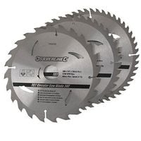 "3 x 200mm (8"") TCT CIRCULAR SAW BLADES 30mm Bore 16 18 & 25 mm RINGS (749249)"