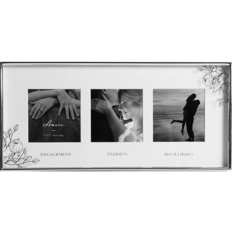 3' x 3' - Silver Floral Frame Engaged Wedding Honeymoon