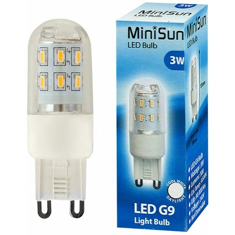 3 x 3W High Power Energy Saving G9 LED Light Bulbs - 300 Lumens - Cool White