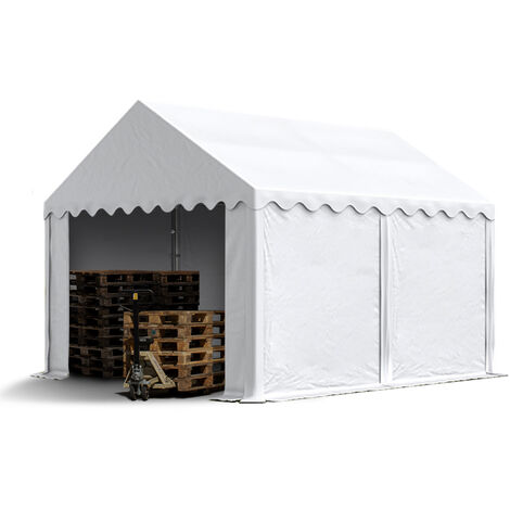 3 x 4 m Heavy Duty PVC Storage Tent Shed Temporary Shelter Fabric Warehouse Building with Galvanized Steel Construction in white
