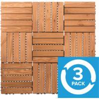 3 X 9 Pack Wooden Deck Floor Tiles