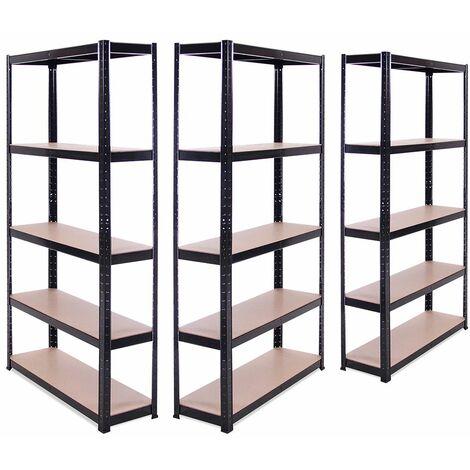 3 x Black Metal 5 Tier Garage Shelves Shelving Unit Racking Storage 180x90x30cm